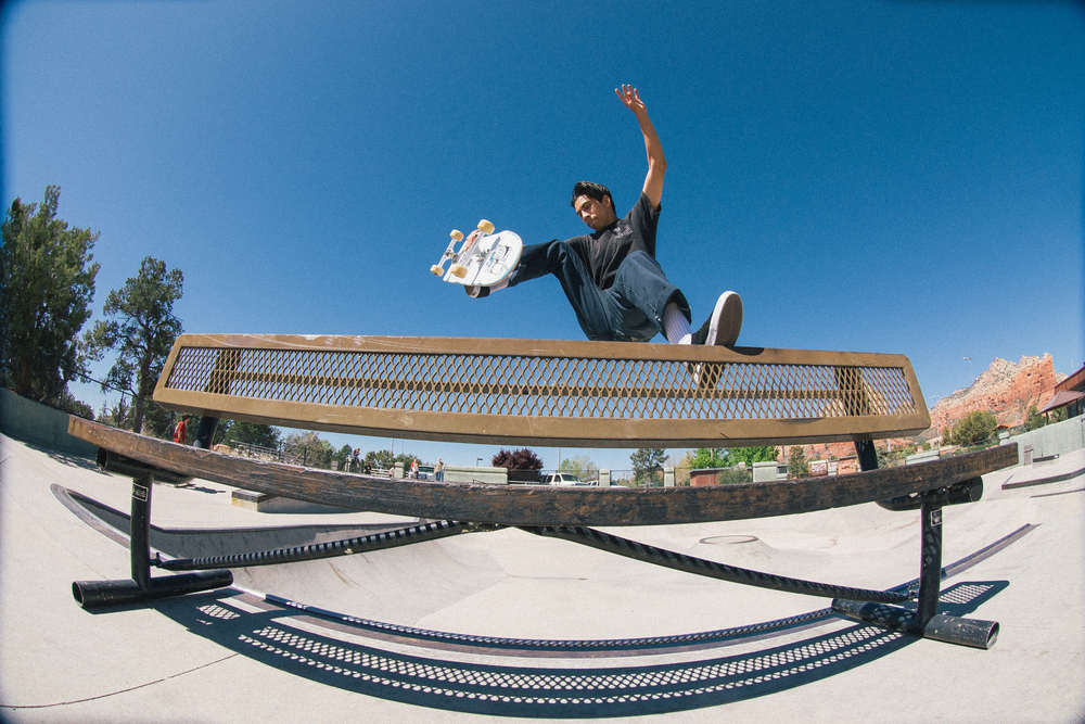 Here we go! Rick Fabro takes the plunge off the top rope at Sedona skatepark.
