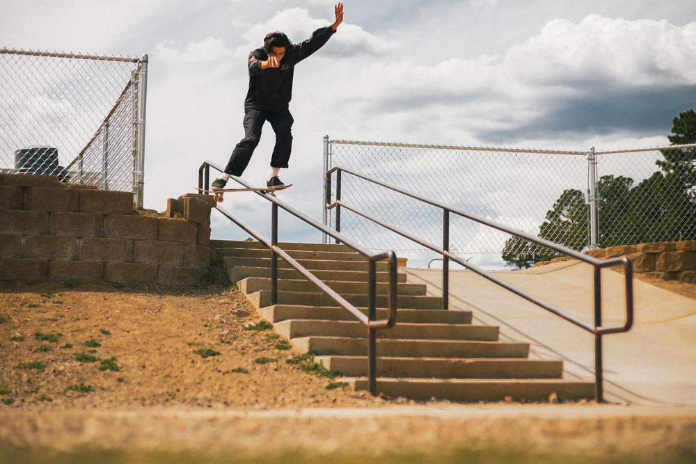 Fabro, Holds on and goes the distance  with this boardslide.