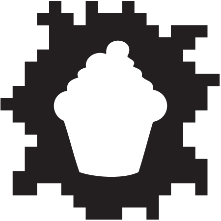 Standalone logo for Emma Winkhouse, combining her love of baking with love of all things 8-bit.