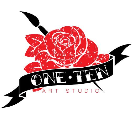 Logo/Shirt design for Paul Dunlap and One 10 Art Studio. Client wanted the traditional tattoo style design of a flower incorporated.
