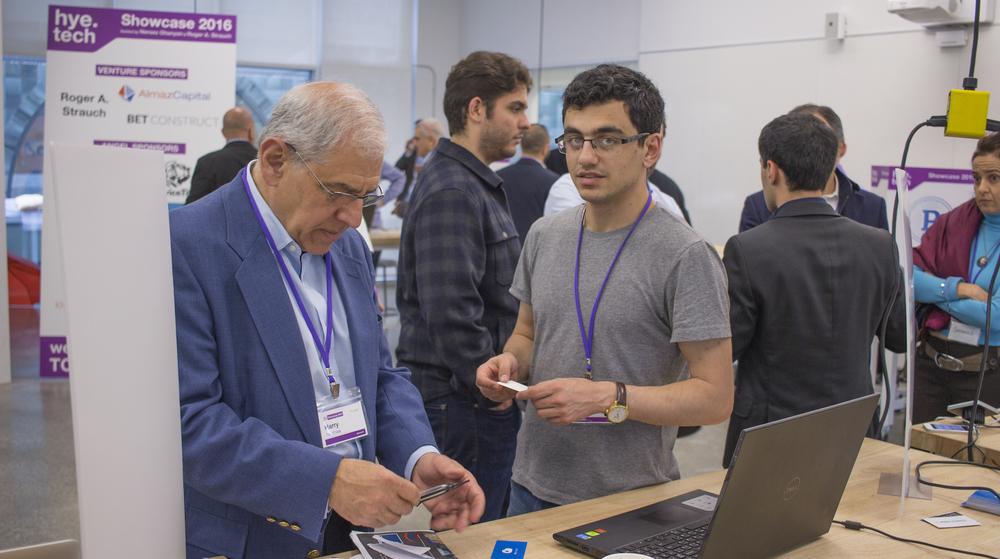 Aram Jivanyan pitches his startup Skycryptor.