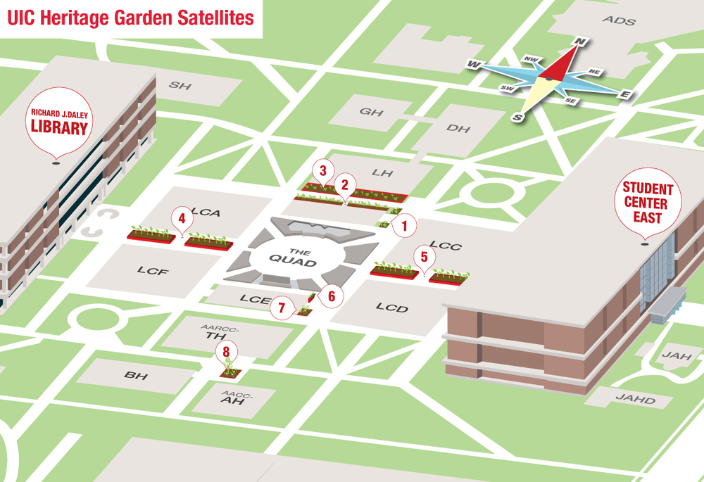 Map of Satellite gardens. Clink on the individual links that describe where the gardens are located.
