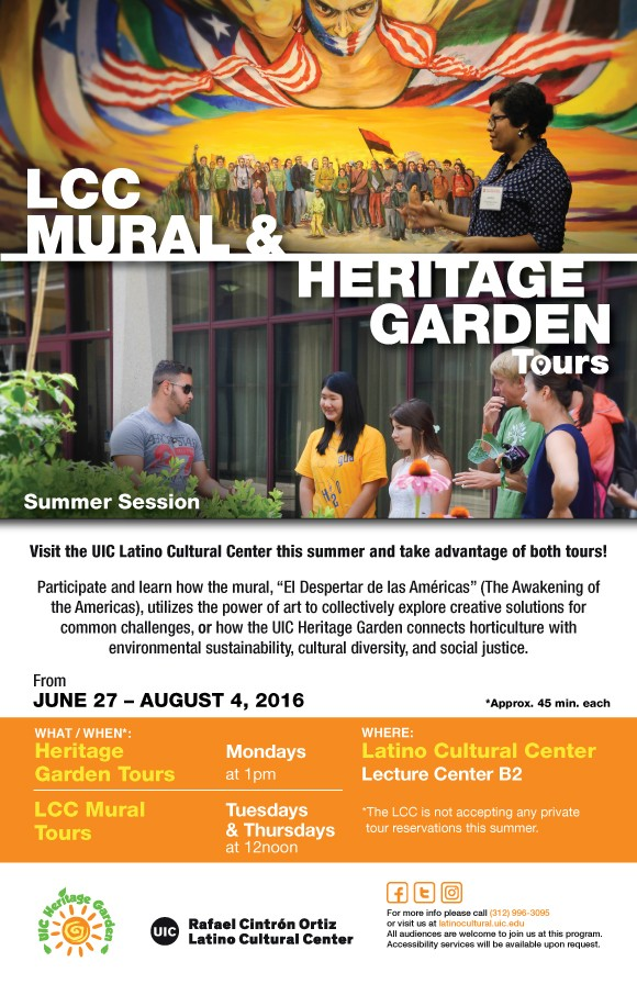 Poster. LCC Mural and Heritage Garden Tours