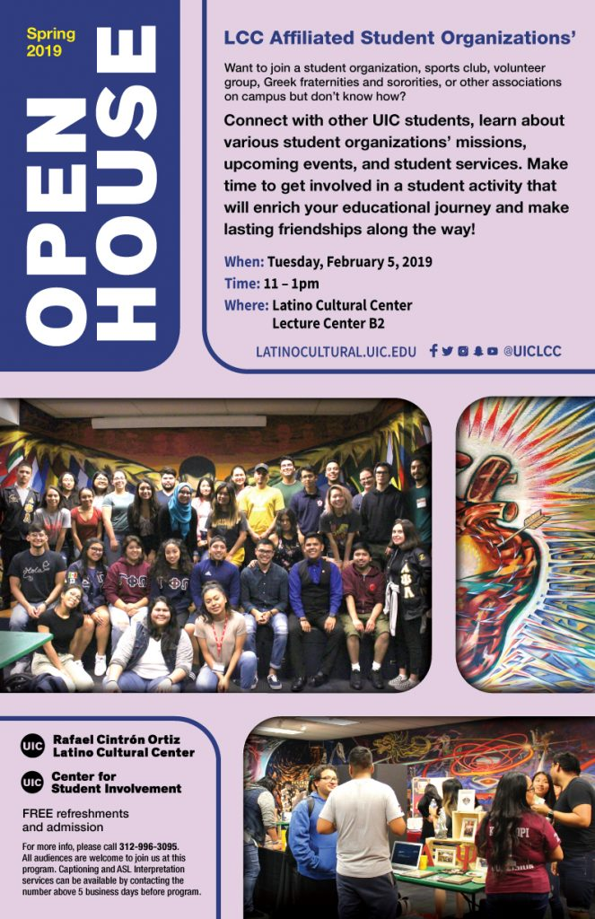 LCC Student Organization Open House Poster