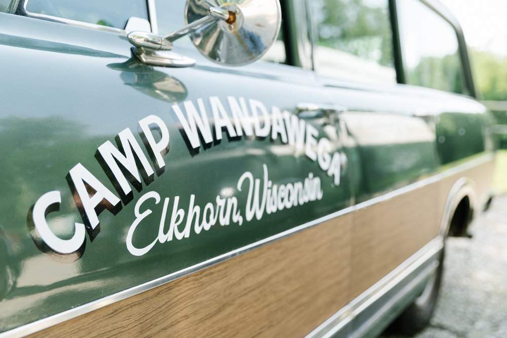 A photo of the Camp Wandawega car in Elkhorn, Wisconsin during Let's Camp.