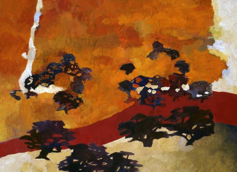 """JAMES SHAY, AUTUMN RIVER - casein on paper on panel 33""""h x 32""""w - SOLD"""