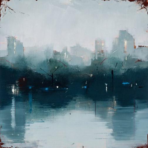 """LISA BRESLOW, NOCTURNE I - oil on panel 12""""h x 12""""w"""