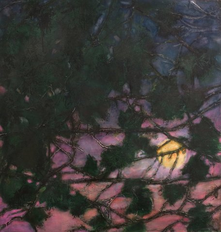 """KATHERINE BOWLING, MOON LEAVES - oil on spackle on wood panel 36""""h x 34""""w_"""