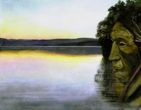 """ETIENNE DeLESSERT, MOHAWK - Watercolor 2006 - 22""""h x 24""""w"""