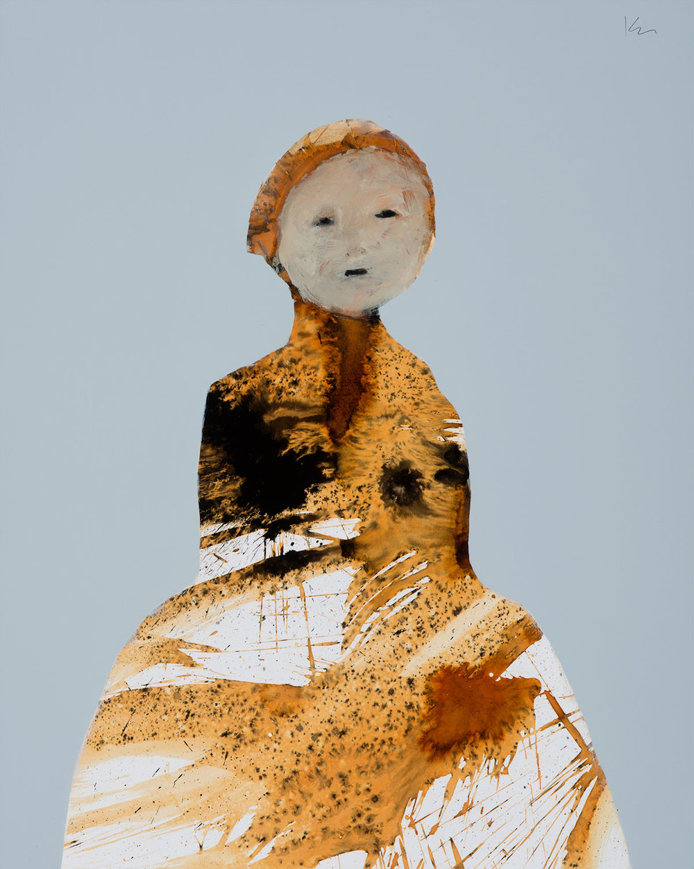 """Marianne Kolb - Explorations with Rust -  rust, sumi ink colored gesso on panel (No.28) - 27""""h x 20""""w framed"""