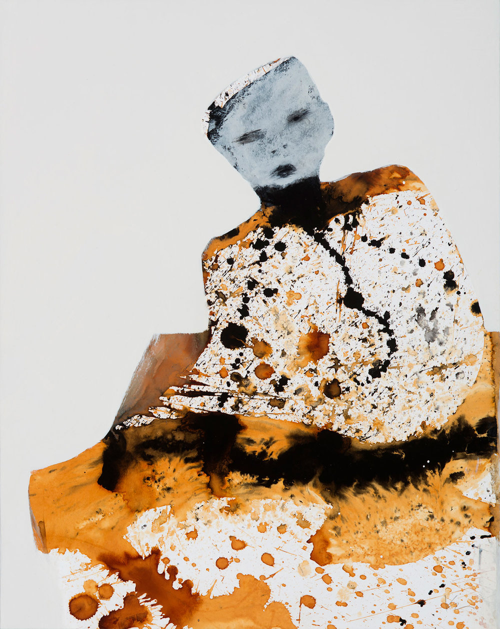 """Marianne Kolb - Explorations with Rust -  rust, sumi ink colored gesso on panel (No.34) - 27""""h x 20""""w framed"""