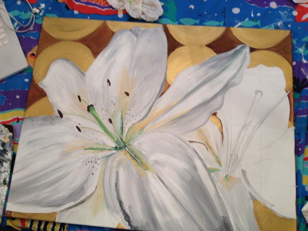 Step by Step of White Lily Painting
