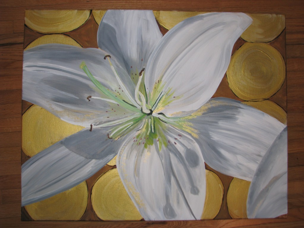 White Lily Painting: Canvas 1