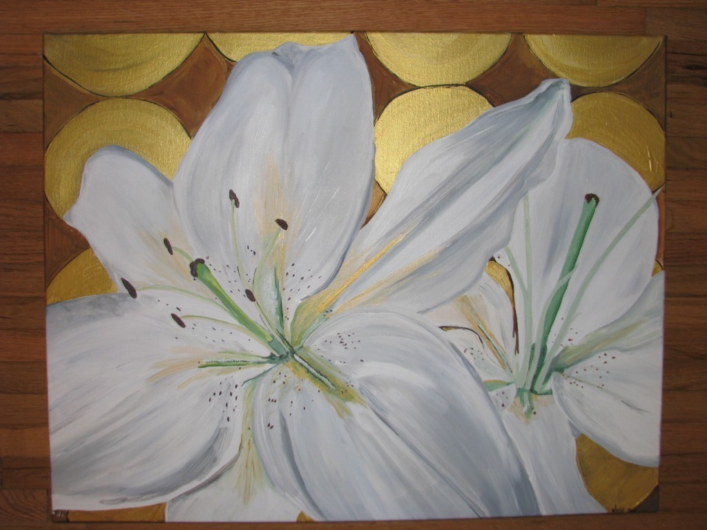 White Lily Painting: Canvas 2
