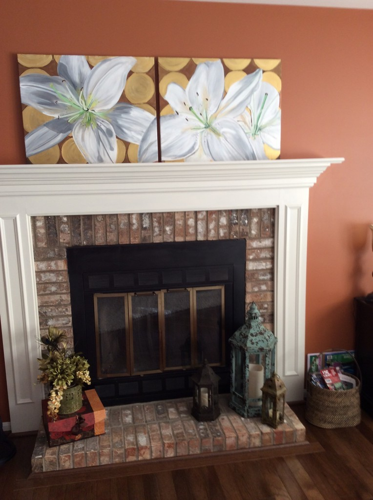 White Lily Painting in Client's Home over Fireplace Closeup
