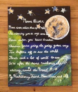 Finished Moon River Nursery Lyrics Painting