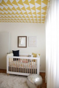 Geometric Nursery Mural on the Ceiling