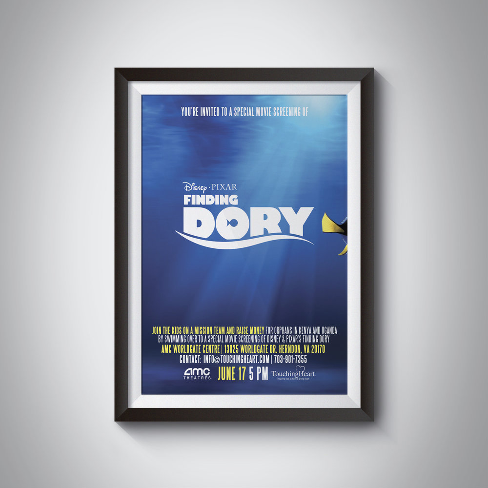 EVENT MARKETING MATERIALS - Poster for Touching Heart's Finding Dory fundraising event
