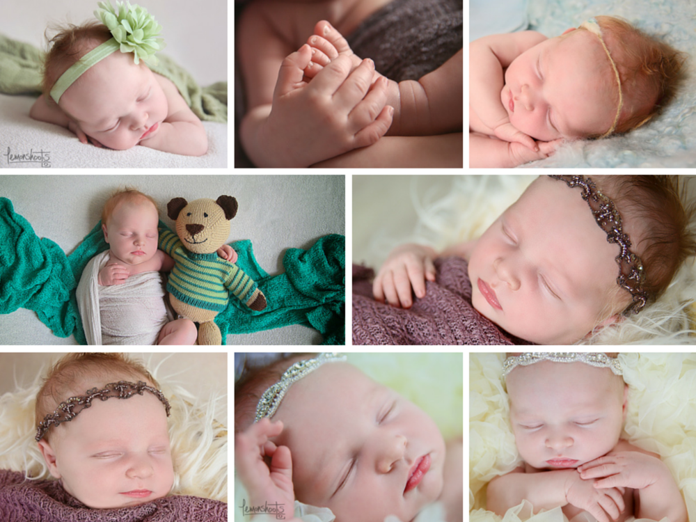 Collage of newborn baby girl photos