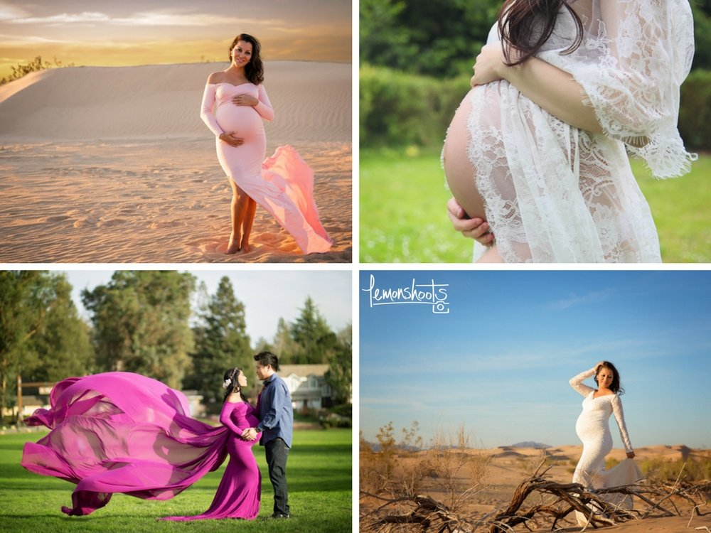 Some of the maternity gowns you can use during your session with Lemonshoots