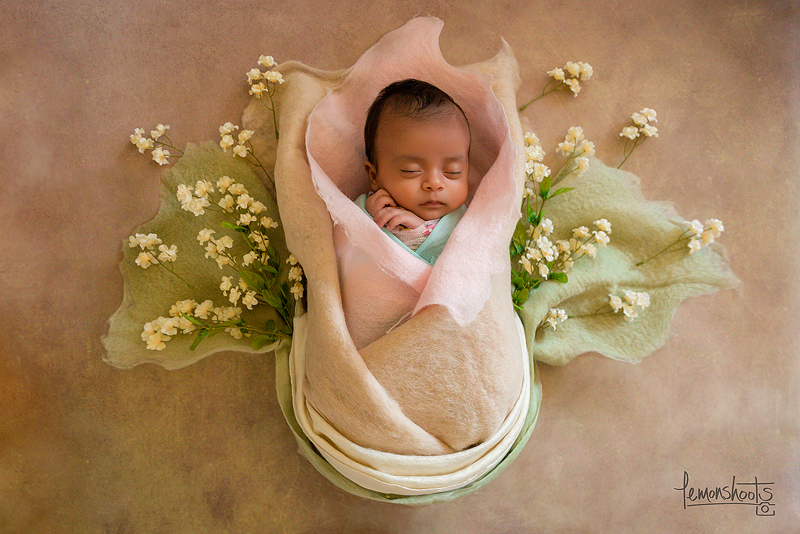 Fine Art Newborn Photography - Baby wrapped in wool layers with flowers