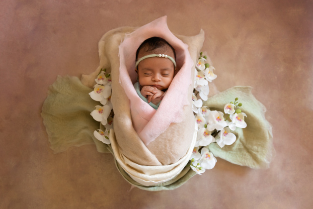 Alameda Newborn Photography Baby Sleeping in Flower