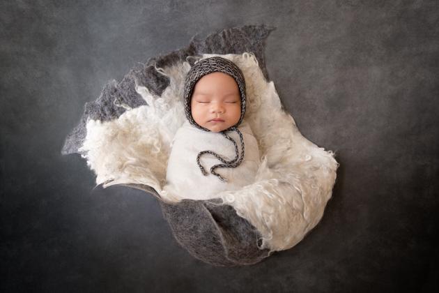 Alameda Newborn Photographer Baby wrapped sleeping