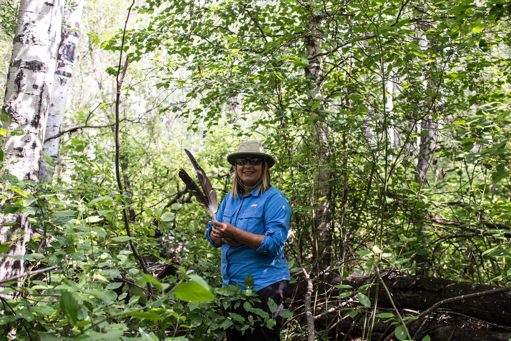 Carmen Wells collecting eagle feathers, July 2017.