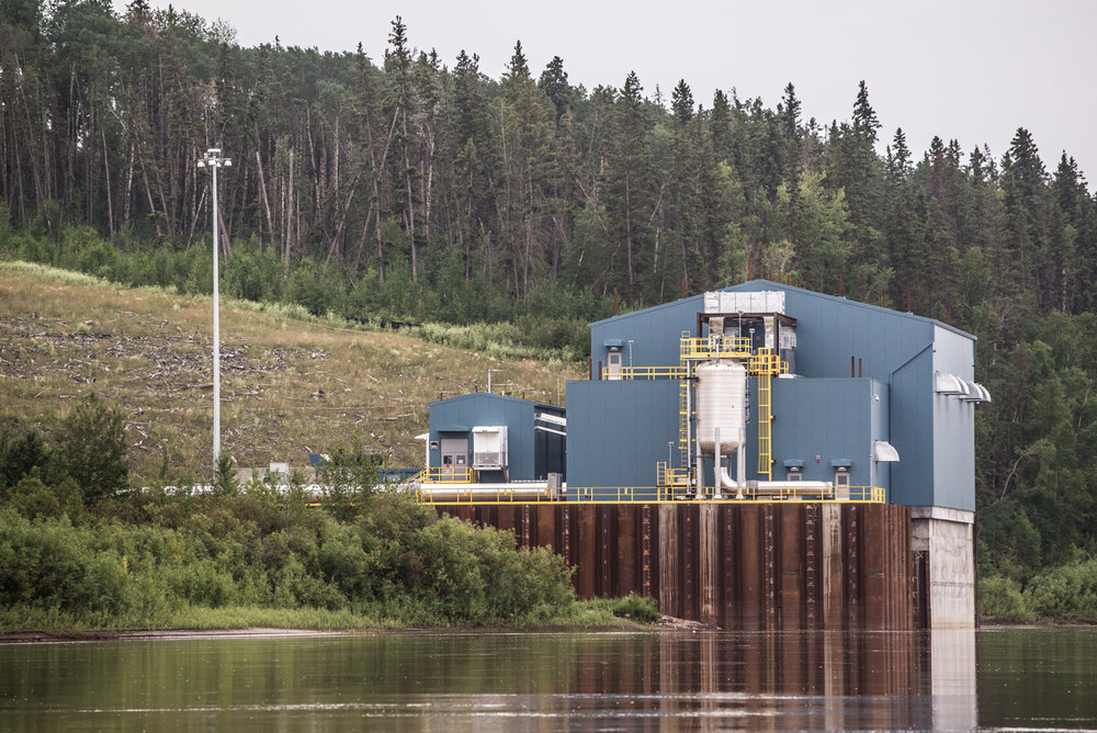 Water intake for the new Suncor Fort Hills Mine, July 2017.