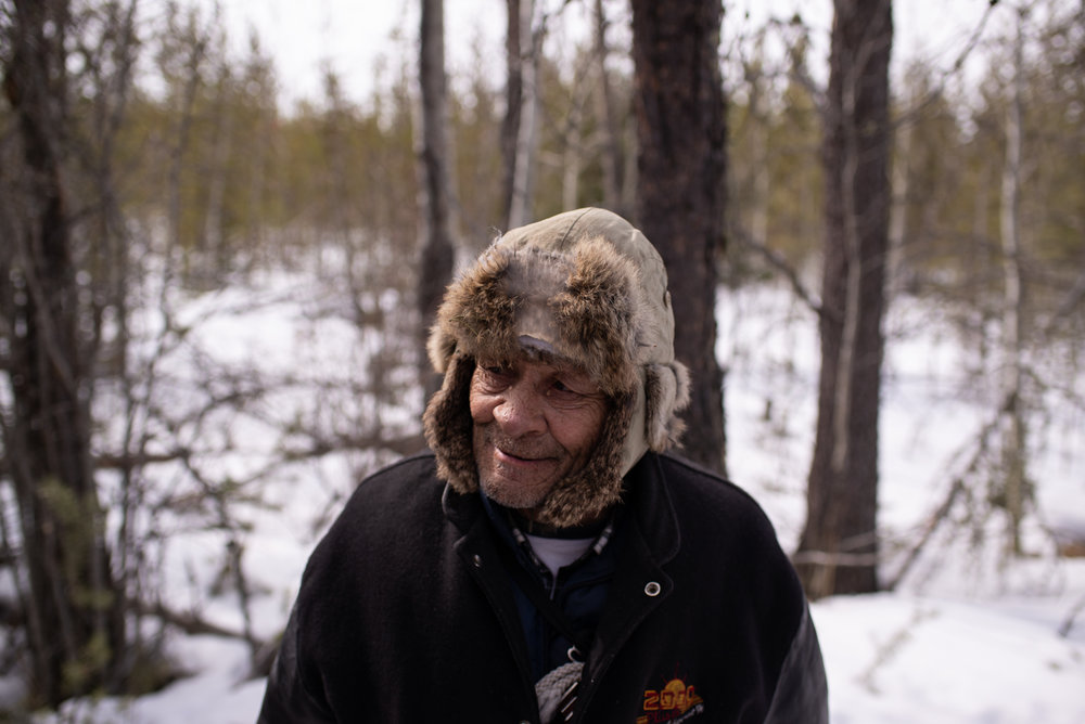 Massey Boucher is a Métis trapper who lives on his line south of Fort McMurray, April 2018.