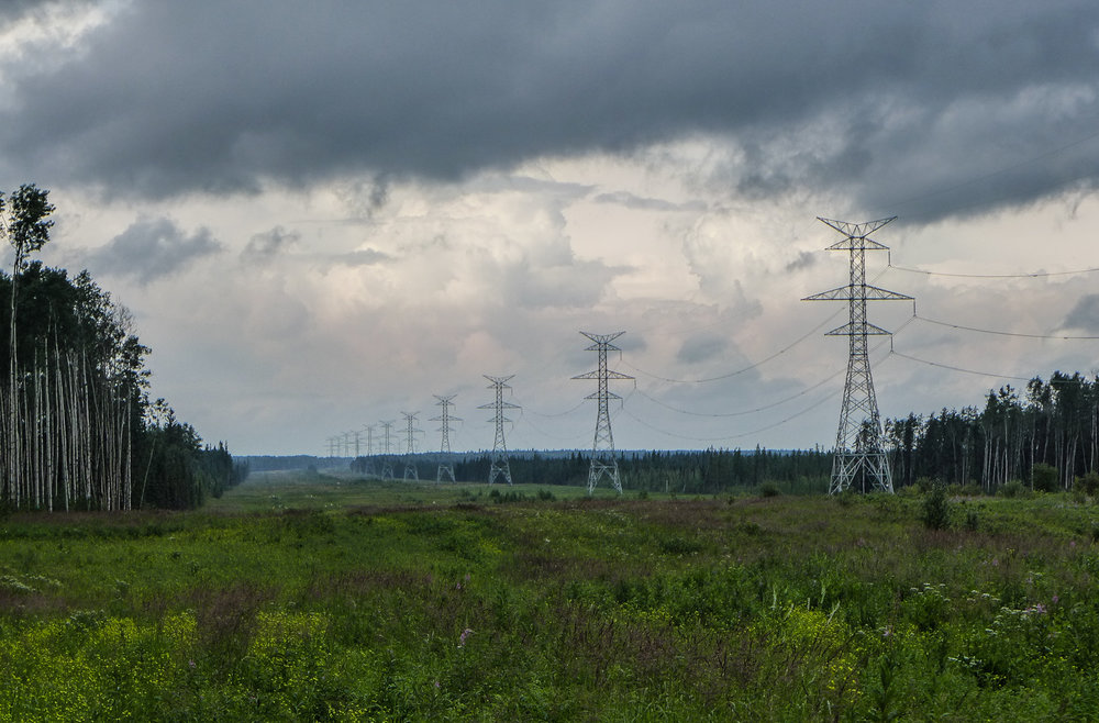 Major power and pipeline corridor west of Fort McMurray, July 2014.