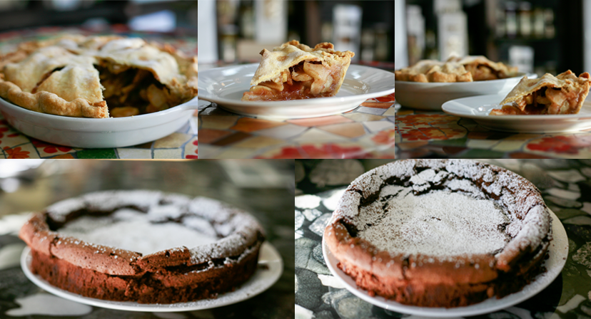 Freshly baked goods: pumpkin pie and flour-less chocolate cake.