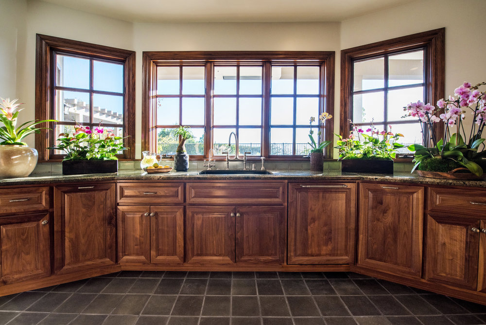 The Kitchen Windows Frame A View Of The Pacific Ocean At This Pacific  Palisades Estate. Bespoke Cabinets In American Walnut Are Finished With  White Bronze ...