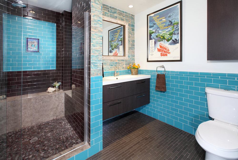 Historic West Hollywood Bungalow Caribbean Blue Bathroom