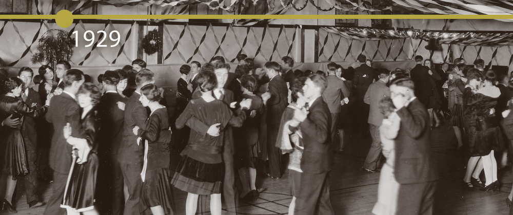 "At one of ""the"" social events of the school year, students dancing in the school's gymnasium during the 1929 Christmas dance hosted by the Y.W.C.A. girls."