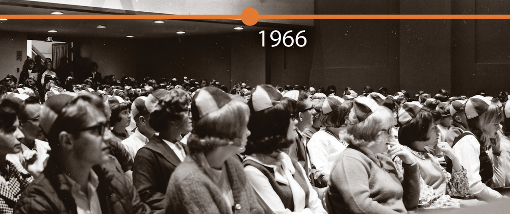 Freshman class sitting in Schofield Auditorium, ca. 1966.
