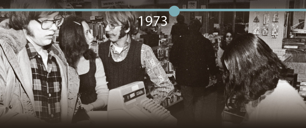 Checkout line in the University Bookstore, Davies Student Center, 1973