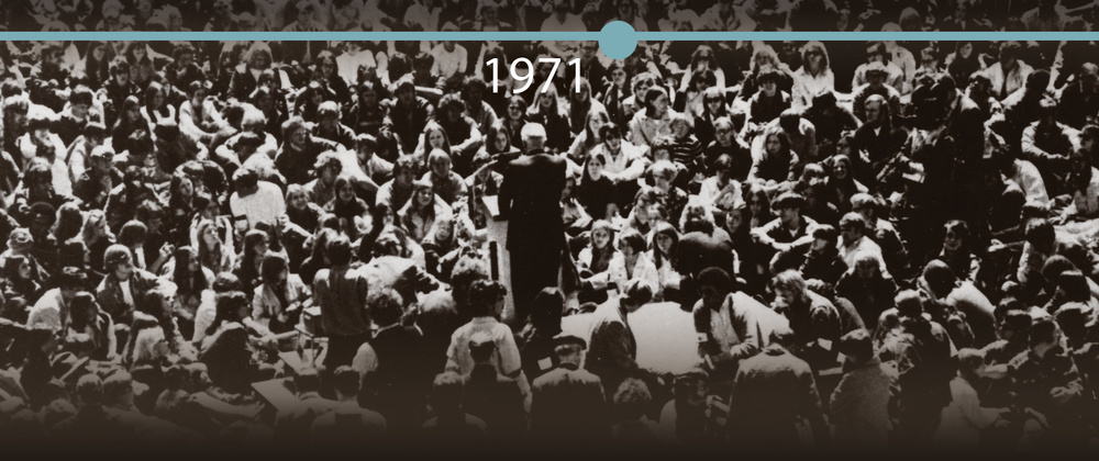 President Leonard Haas addressing a crowd of nearly 3,000 students and spectators during a protest rally in response to the killing of four Kent State students in 1970.