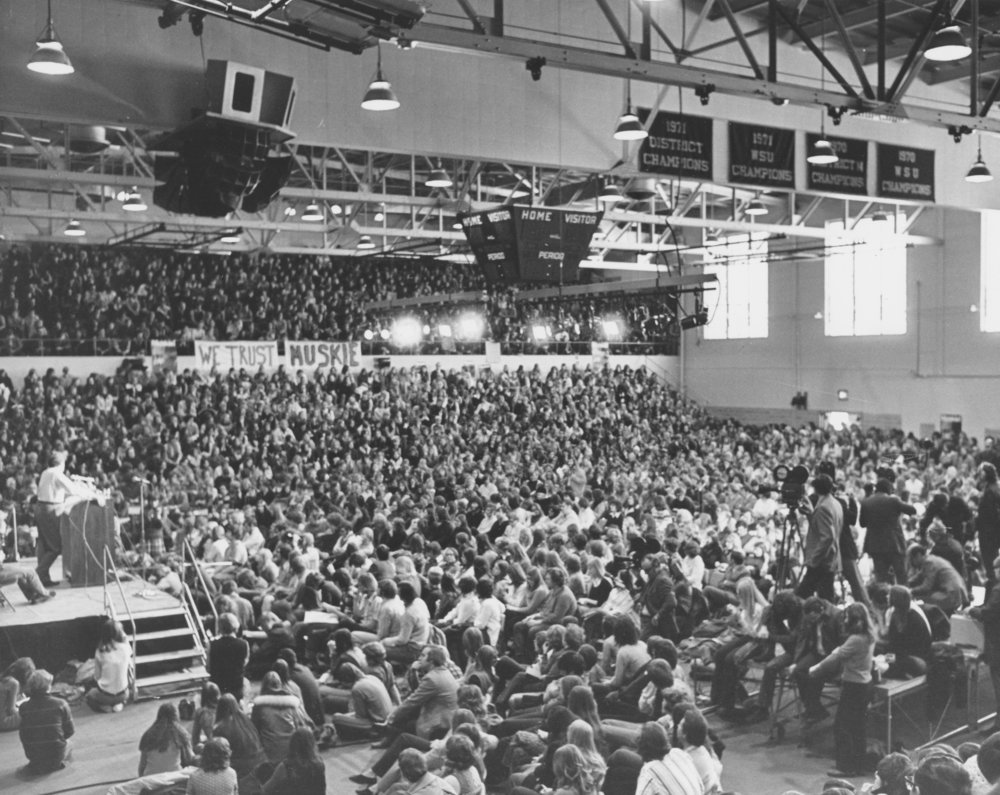 Democratic presidential candidate Edmund Muskie in a packed Zorn Arena, 1971