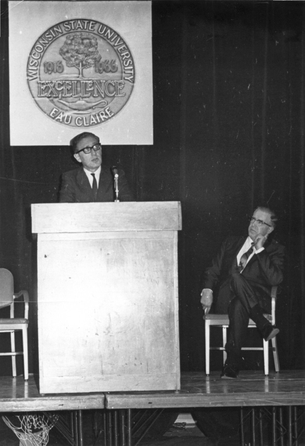 Henry Kissinger with Dr. Edward Blackorby (seated), 1967