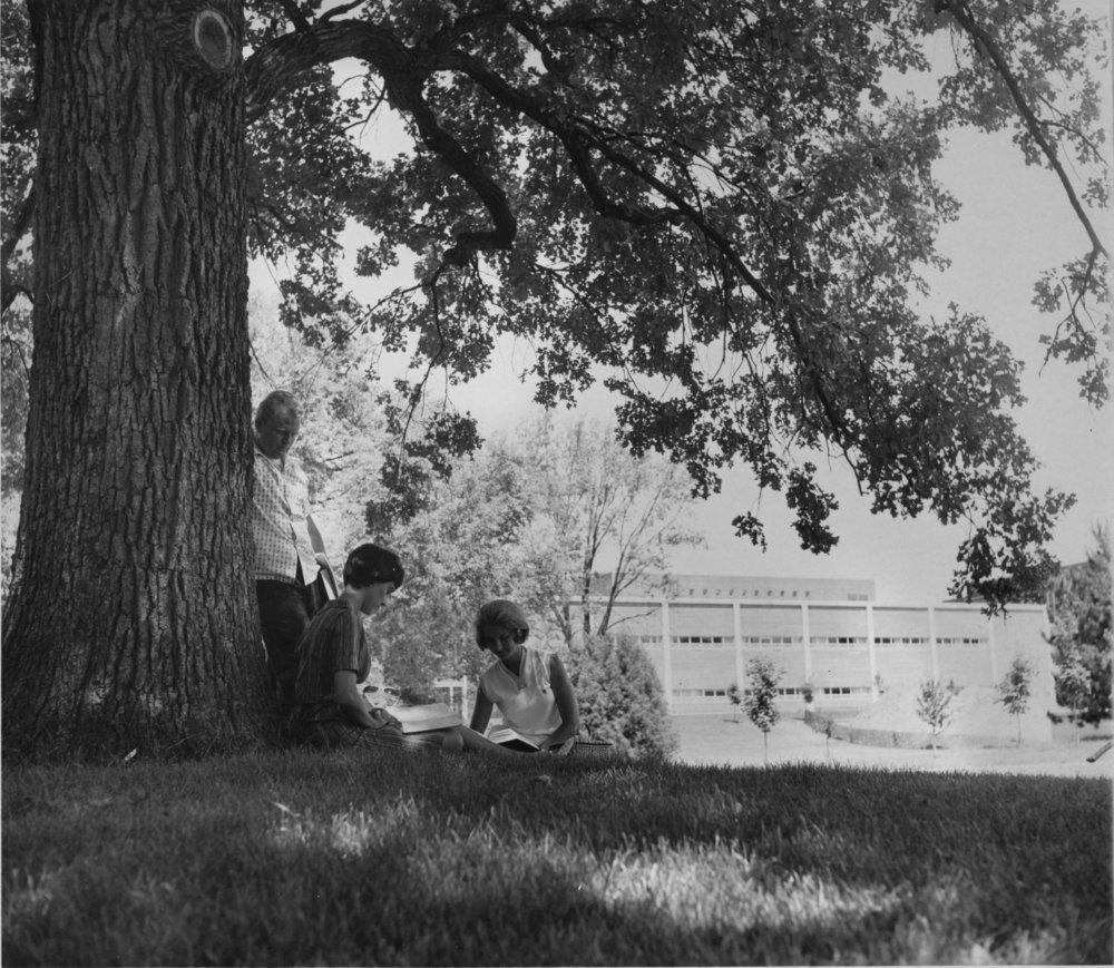 Students enjoying the shade, ca. 1960's