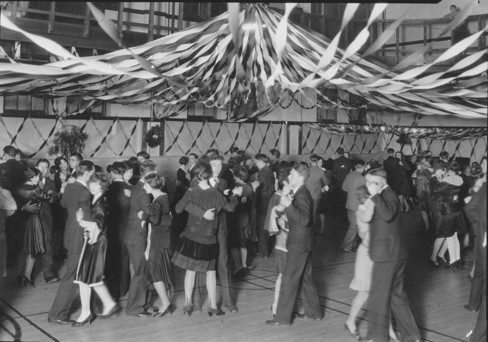 YWCA Christmas dance in gymnasium