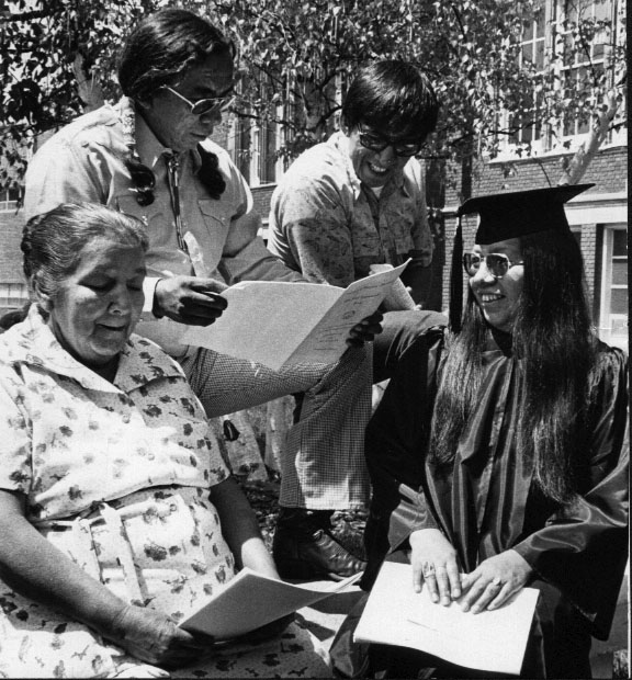 Native American graduate and fmaily, ca. 1970