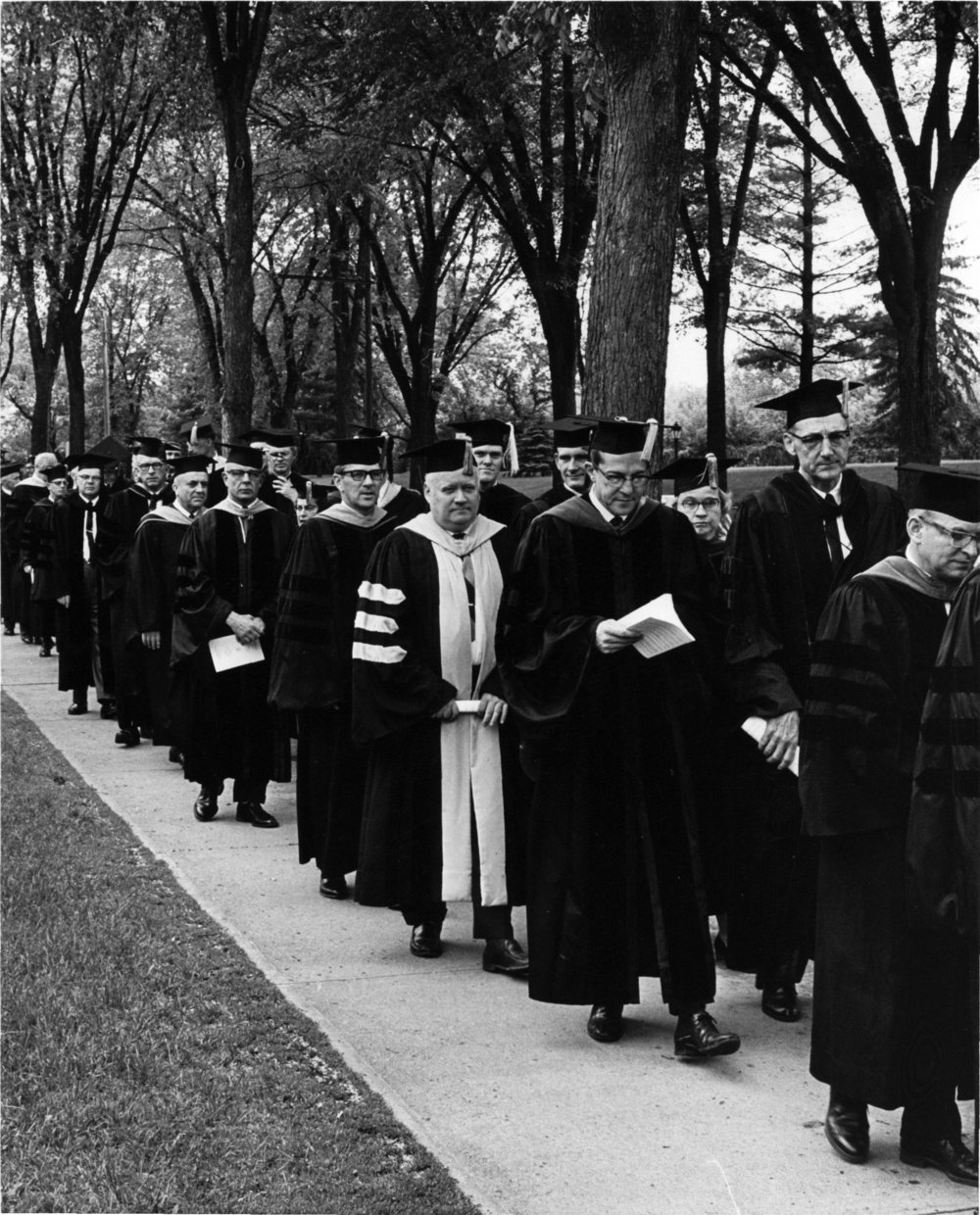 Faculty entering Zorn arena, ca. 1960's