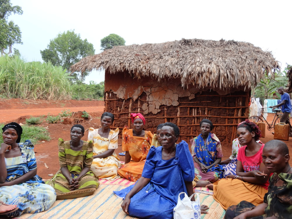 A community group that Caleigh worked with in rural Uganda