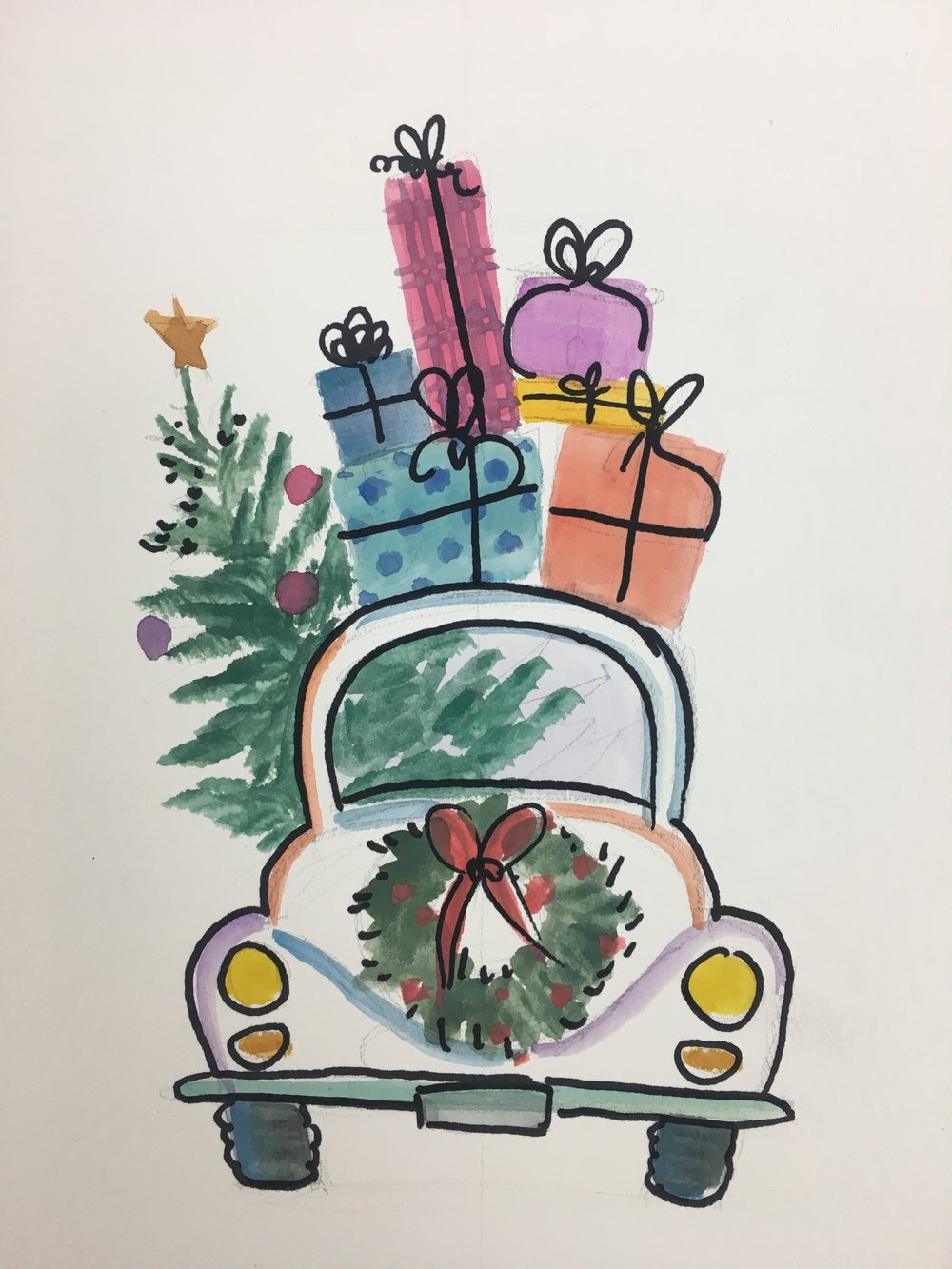 Watercolor Holiday Beetle Bug Art Piece (recommended ages 10+):    $5 a person    TIME: 11:30am & 4:00pm December 16th   (Each class is about 45 minutes long)    With step by step instructions using pencil, watercolor and sharpie, learn to paint this fun and whimsical holiday car. You will finish this framable piece that you can then hang up for the holidays every year!