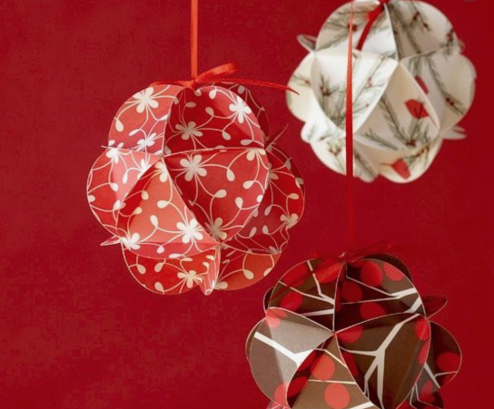 Paper Ornament Option (recommended for ages 10+):    $5 a person    TIME: 2:00pm December 16th   (This class is about 30 minutes long)    Using fun papers learn to make this paper ornament to add to your tree.