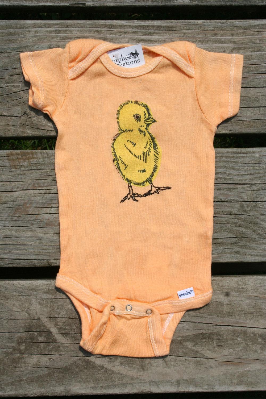 fuzzy chick, orange short sleeve