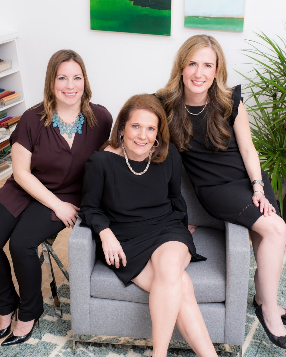 Chester Hoffmann & Associates Interior Design Team from left to right; Sarah Maloney (Interior Designer), Jean Hoffmann (Principal, Interior Designer), Kate Hoffmann (Business Manager)