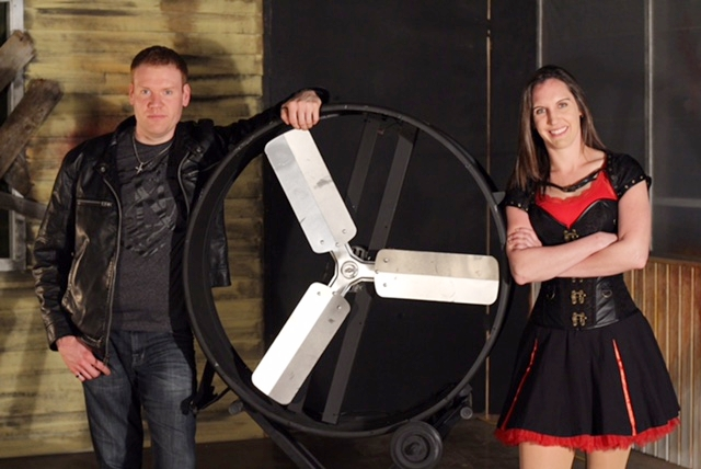 Jeff and Lesley with Propeller, the passage of a man through an industrial fan.
